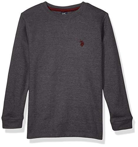 U.S. POLO ASSN. Boys' Big Long Sleeve Crew Neck Thermal T-Shirt, Birdseye Dark Heather Gray, 14/16