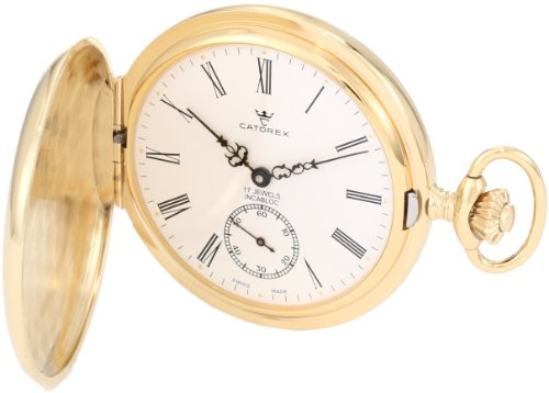 - Catorex Men's 171.6.1634.110P Les Breuleux 18k Gold Plated Brass White Dial Pocket Watch