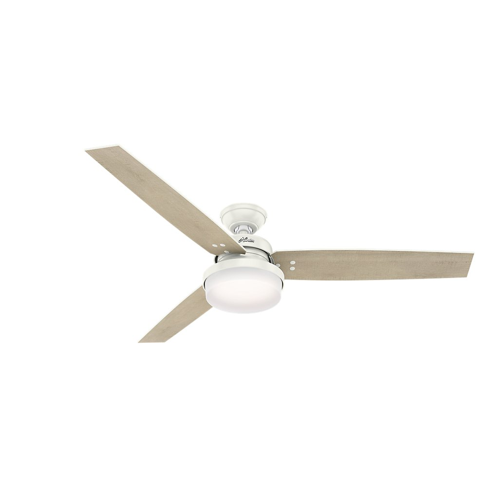 Hunter Indoor Ceiling Fan with LED Light and remote control – Sentinel 60 inch, White, 59456
