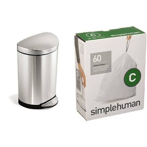 (simplehuman 10 litre semi-round step can fingerprint-proof brushed stainless steel + code C 60 pack liners)