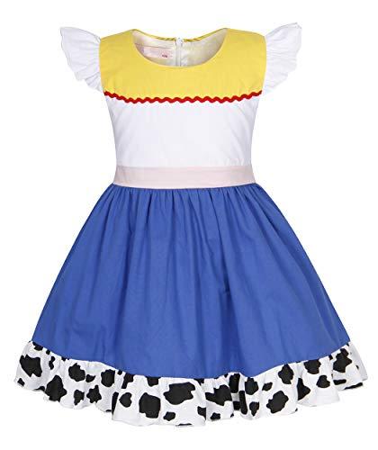 Jurebecia Girls Toddler Jessie Costume Dress Jessie Dress Up Halloween Costume Fancy Dress Size 6]()