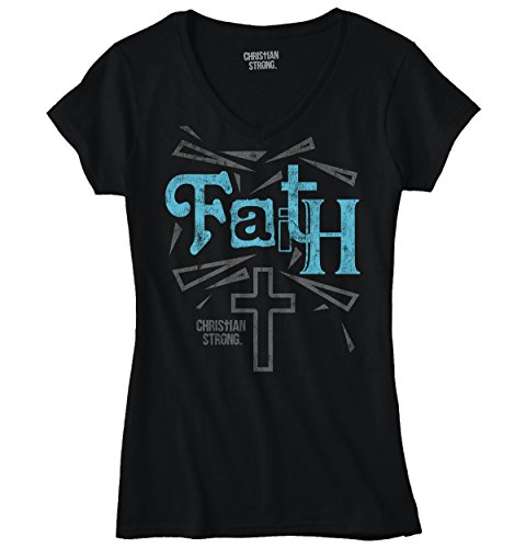 Faith Cross Christian T Shirts Jesus Christ Cross Gift Ideas Junior V-Neck Tee