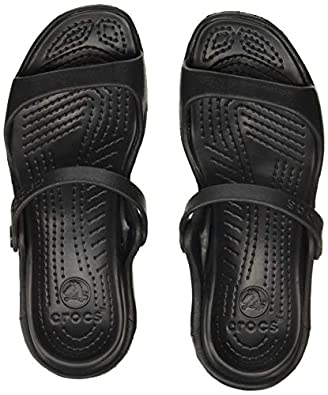 crocs Women's Cleo Black Croslite Fashion Sandals - W7