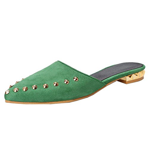 COOLCEPT Mujer Moda Puntiagudo Pantufla Punk Zapatos with Remache Verde