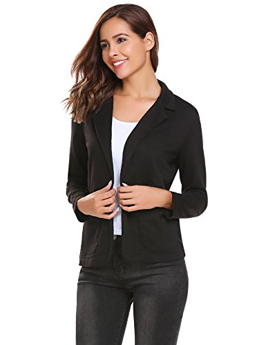 Zeagoo Casual Work Office Slim Blazer Open Front Jacket for Women and Juniors Black XL