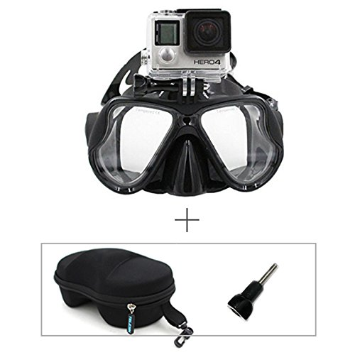TELESIN Gopro Dive Scuba Diving Mask w/ Mount Compatible with Go Pro Hero3, 3+ and 4/4 Session, Swimming Mask for Snorkel / Snorkeling Go-pro (Black)