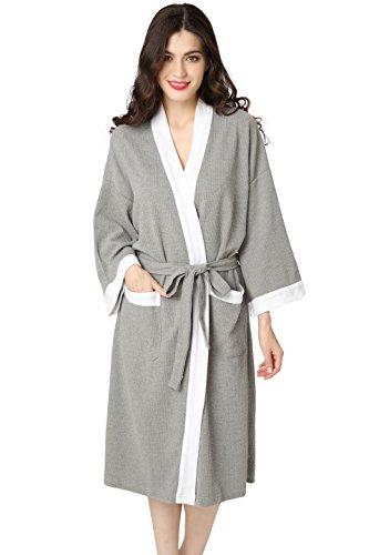Aibrou Unisex Waffle Bathrobe Cotton Lightweight Nightgowns Sleepwear Spa  Robe aafbe8b6c