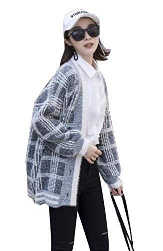 [エージョン] レディース カーディガン チェック柄 薄手 春秋 ゆったり Vネック ニット 長袖 アウター シンプル オシャレ オーバー シングルブレスト ファッション