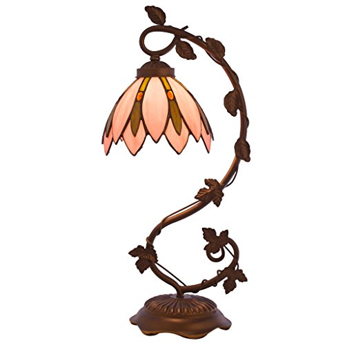 River of Goods 8774 Tiffany Style Stained Glass Lotus Flower Table Lamp Pink