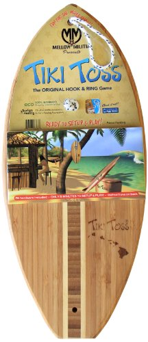 Hook And Ring Toss Game – 100% Bamboo Party Game For Indoor or Outdoor Family Fun –  Tiki Toss Hawaiian Island Edition (All Parts (Ring And Hook Game)