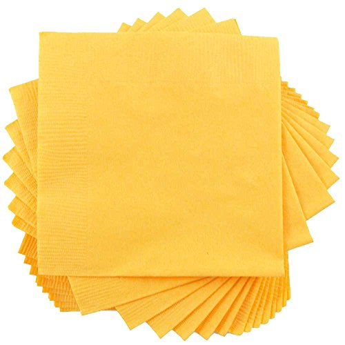 (JAM PAPER Medium Lunch Napkins - 6 1/2 x 6 1/2 - Yellow - 50/Pack)