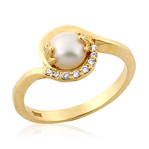 (Handmade Vintage Style Romantic Art Nouveau 18K Yellow Gold Pearl 0.06ct Diamond Engagement Ring SIZE 7.75)