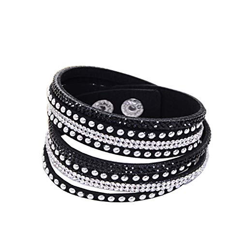 KUIYAI Wrap Leather Bracelet with Bling Bling Crystal Rhinestones and Snap Buttons (Black)