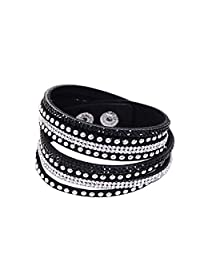 Wrap Leather Bracelet with Bling Bling Crystal Rhinestones and Snap buttons