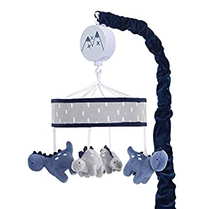 Lambs & Ivy Baby Dino Blue/Gray Dinosaur Musical Baby Crib Mobile Soother Toy
