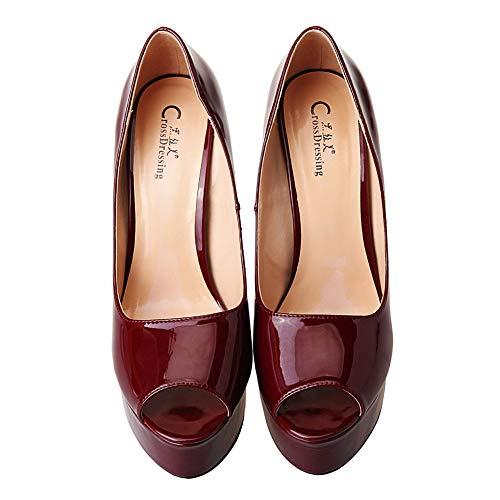 Bouche Cuir De La shoes L'eau Poisson Verni Commuter Winered forme Du Imperméable Femme Stiletto À Plate Rqv1xB