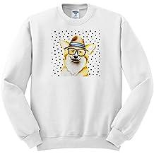 3dRose Uta Naumann Watercolor Illustration Animal - Cute Funny Dog Illustration On Polkadots- Welsh Corgi Pembroke - Sweatshirts