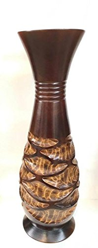 Baan Tawai, Chiang Mai, Mango Wood Vase Hand-Crafted, Floor Vase 30 inches (No.005) Thailand Work Art By WADSUWAD SHOP by WADSUWAN SHOP