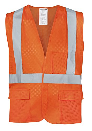 (Ironwear 1284FR-OZ-6-3XLG ANSI Class 2 Flame Retardant Polyester Mesh SAFETY Vest with Zipper & 2