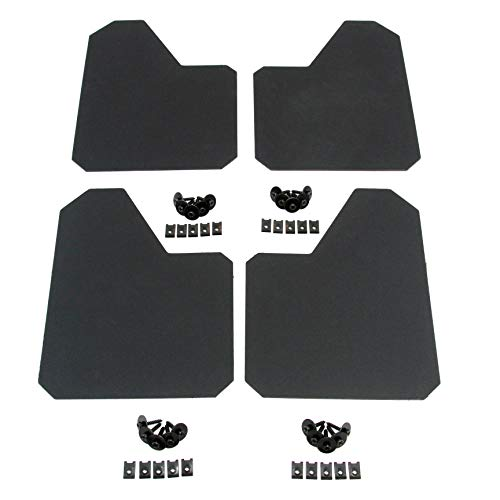 Red Hound Auto 4 Piece Racing Style Universal Splash Guards Standard Coverage Stone Guards fits Front and Rear Driver and Passenger Mud Flaps Black 4pc Full Set with Hardware 9 -