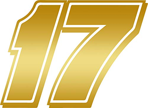 ANGDEST NA 17 NASCAR 17 (Metallic Gold) (Set of 2) Premium Waterproof Vinyl Decal Stickers for Laptop Phone Accessory Helmet Car Window Bumper Mug Tuber Cup Door Wall Decoration