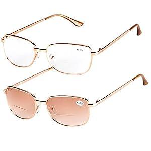 Fullwosing 2 Pairs Bifocal Reading Glasses +2.00 Mens Womens Everyday Use Readers Eyewear Light Metal Frame Far and Near Dual-Use Eyeglasses