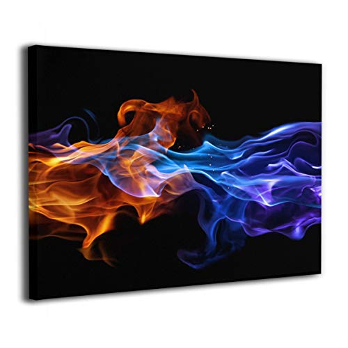 "Achujuyou Modern Wall Art On Canvas Fire and Ice Frameless Artwork Bedroom Living Room Decorative Painting Modern Gallery 16""x20"" Ready to Hang"