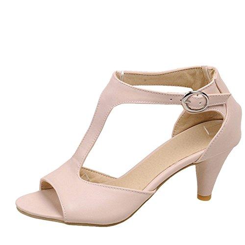 TAOFFEN Mujer Moda T-Strap Sandalias Tacon Embudo Tacon Medio Peep Toe Verano Zapatos Con Hebilla 517 Rosado