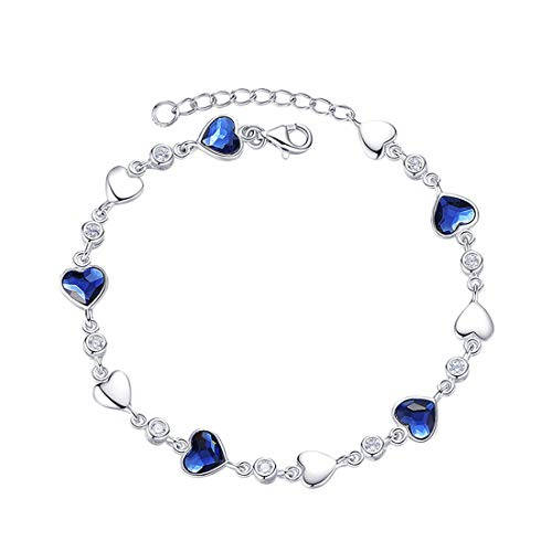 (Carleen White Gold Plated 925 Sterling Silver CZ Cubic Zirconia Created Blue Heart Sapphire Tennis Bracelet for Women Girls, 7