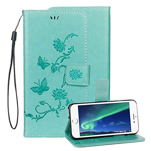 Price comparison product image Embossed Leather Case For Samsung Galaxy A6 2018, Samsung Galaxy A6 2018 Embossed Butterfly Lotus Flower PU Leather Wallet Soft TPU Flip Cover Magnetic Card Slot Holder With Detachable Hand Strap-Green