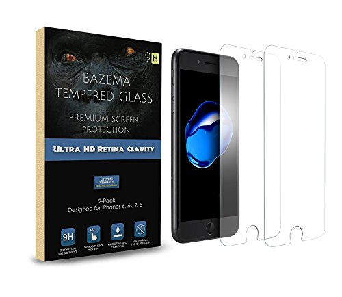 BAZEMA 2-Pack iPhone 6 Plus 6s Plus 7 Plus, 8 Plus Compatible Screen Protector HD Retina 9H Tempered Glass with Cleartouch Technology Screen Cover