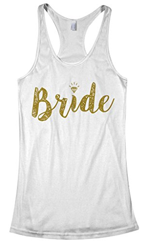 Threadrock Women's Bride Gold Script Racerback Tank Top XL White -