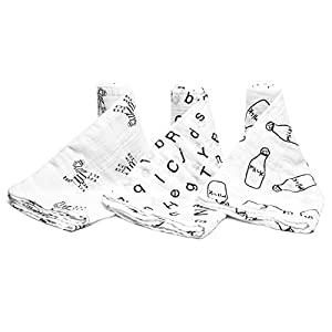 PEKITAS Extra Large Muslin Baby Swaddle Blankets – 3 Pack – 45 x 45 inch – Unisex (3 PCS- Grey Series)