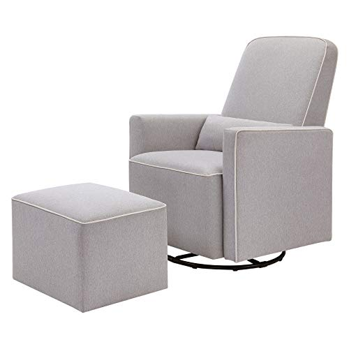 (DaVinci Olive Upholstered Swivel Glider with Bonus Ottoman, Grey with Cream Piping)