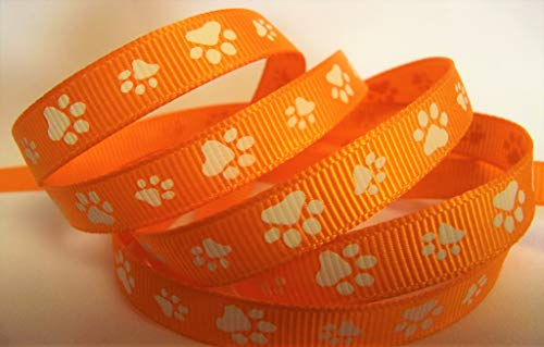 Grosgrain Ribbon - Paw Print - Orange with White Paws - 3/8 Inch Wide Ribbon - 10 Yards, Great for Hair Bows, Pet and Sports Crafts!