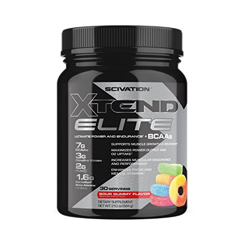 Scivation Xtend Elite BCAA Powder, Branched Chain Amino Acids, BCAAs, Sour Gummy, 30 Serving
