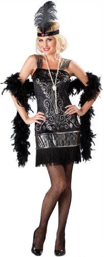 InCharacter Costumes, LLC Women's Flirty Flapper Costume, Black, Medium -