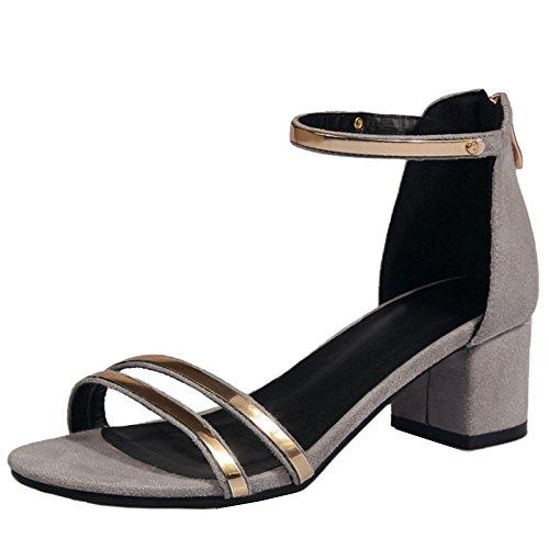 TAOFFEN Mujer Tacon Alto Sandalias Tacon Ancho Fermeture Eclair Al Tobillo Zapatos Gris