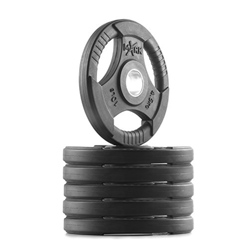 XMark TRI-Grip 60 lb Set Olympic Weights, Premium Rubber Coated Olympic Plates, One-Year Warranty by XMark Fitness (Image #3)
