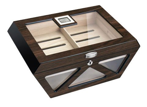 Visol Collin Macassar Lacqered Glass Top Cigar Humidor - Holds 100 Cigars