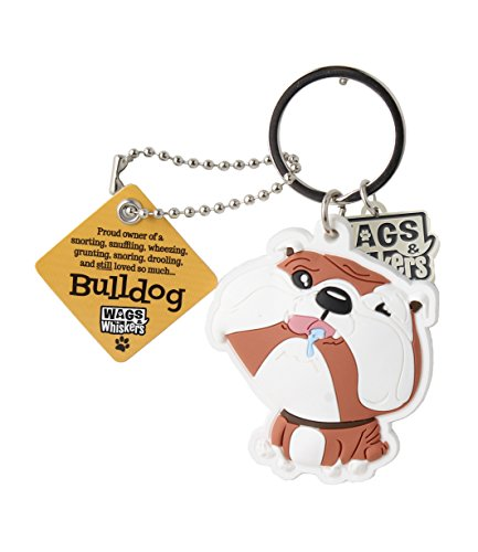 Wags and Whiskers Bulldog Key Chain with Keyring/Key Holder ()