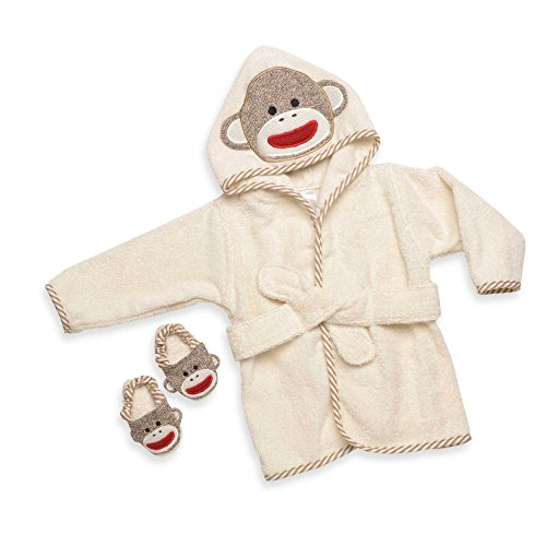Sock Monkey Robe Gift Set Ivory 0-9 Months