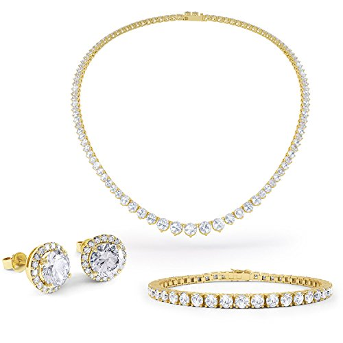 Eternity Saphir Blanc Argent Bijoux Set (or jaune)