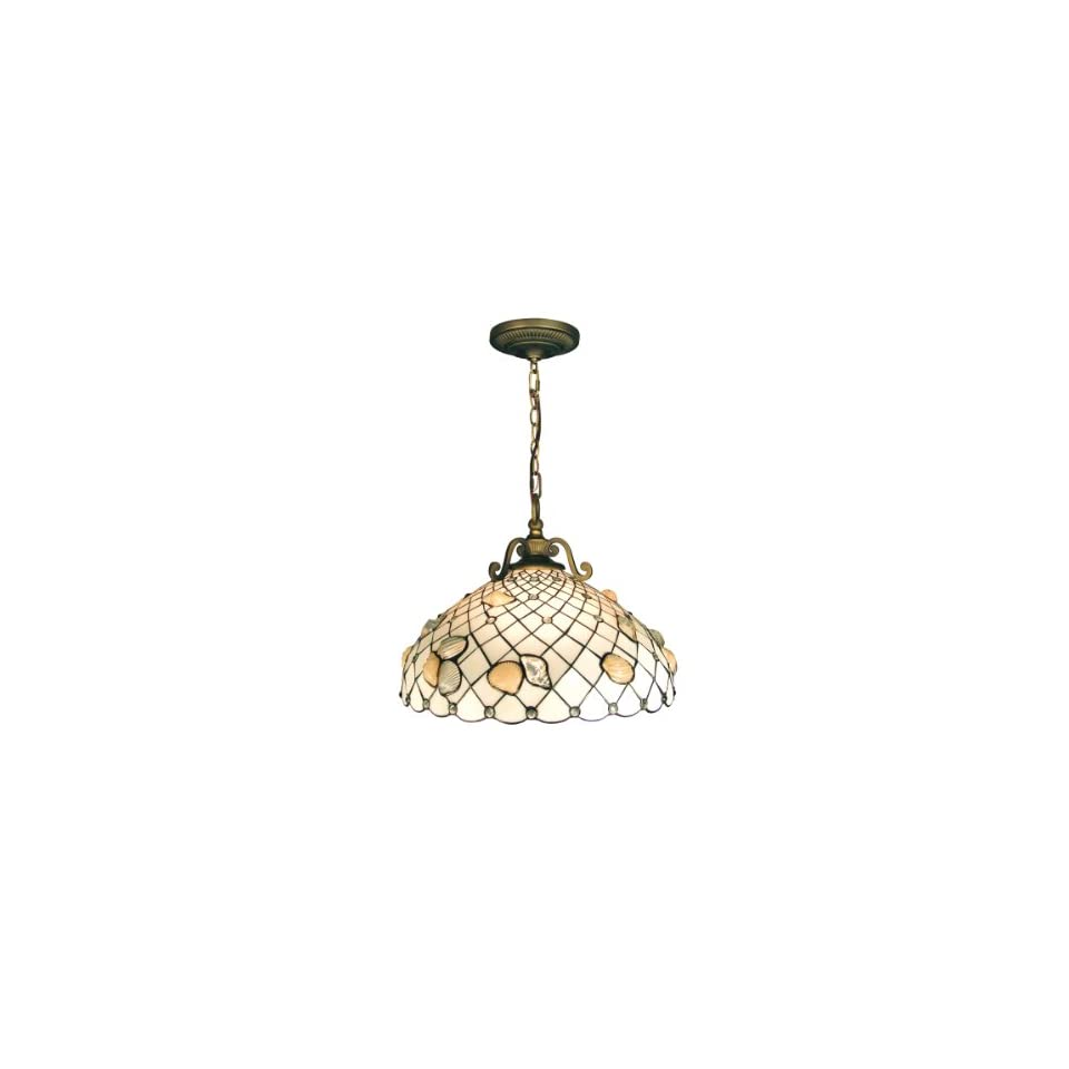 Dale Tiffany TH50007 Shell Pendant Light, Antique Brass and Art Glass Shade