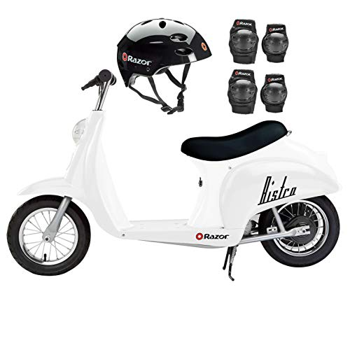 Razor Pocket Mod Miniature Euro Electric Retro Scooter, White + Helmet/Pads