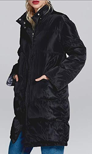 Long Padded Quilted Down Fit security Women's Overcoat Slim Jacket Puffer Black Thicken Warm wzBxZxqt
