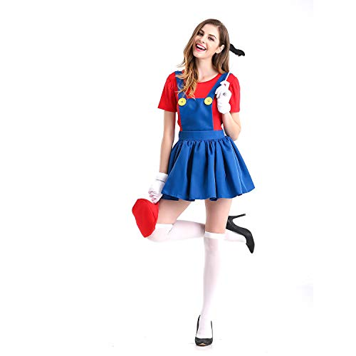 Brilliant Female Halloween Costumes (Minetom Women's Super Mario Halloween Costume Super Plumber Fancy Dress Costume for Halloween Christmas Party Cosplay (Red,)