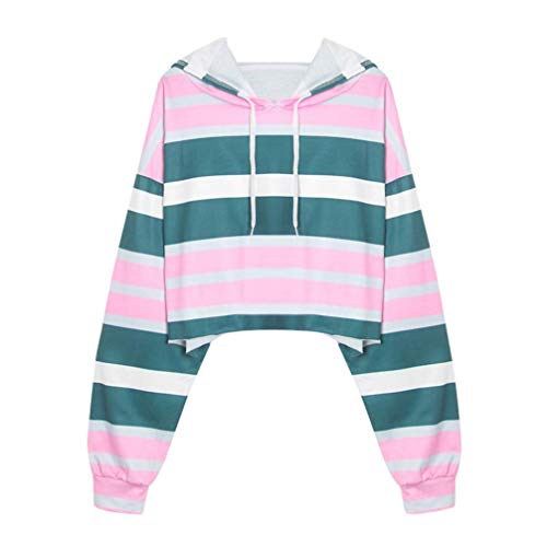 URIBAKE Womens Long Sleeve Striped Patchwork Sweatshirt Casual Hooded Shirt Blouse (Hooded Rugby Striped)