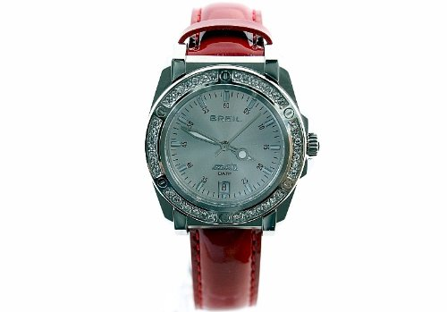 - Breil Milano Men's TW0798 Manta Crystal Bezel Date Patent Leather Watch