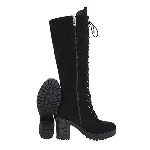 Schuhcity24 Damen Schuhe Stiefel High Heels Schnürer Schwarz
